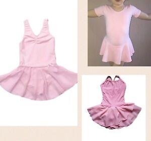 NEW-Pink-Ballet-Dance-Dress-Short-Sleeve-Cotton-Girls-Leotard-Tutu-Skirt-4567