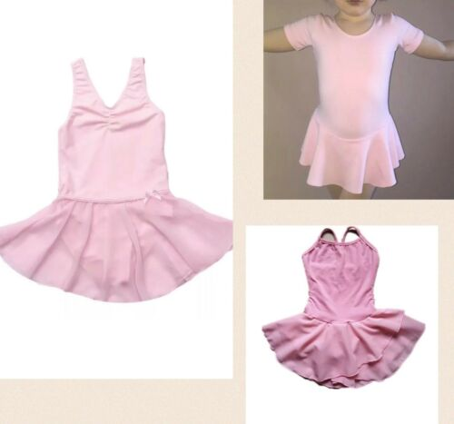NEW Pink Ballet Dance Dress Short Sleeve Cotton Girls Leotard//Tutu Skirt 4567