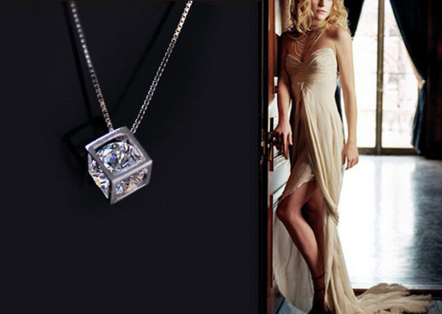 Womens Silver Rhinestone Love Cube Pendant Necklace Jewelry Valentine's Day Gift
