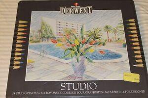 Rexel Derwent Studio 24 Watercolor Colored Pencils Tin #32197