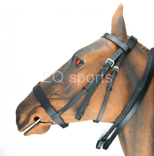 Plain Wide Cavesson Working Hunting Bridle ENGLISH Leather Black Full Grip Reins