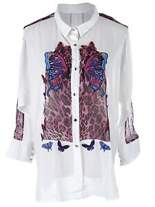 USA-S-M-Fit-White-Sheer-Collared-Button-Down-Purple-Butterfly-Print-Shirt