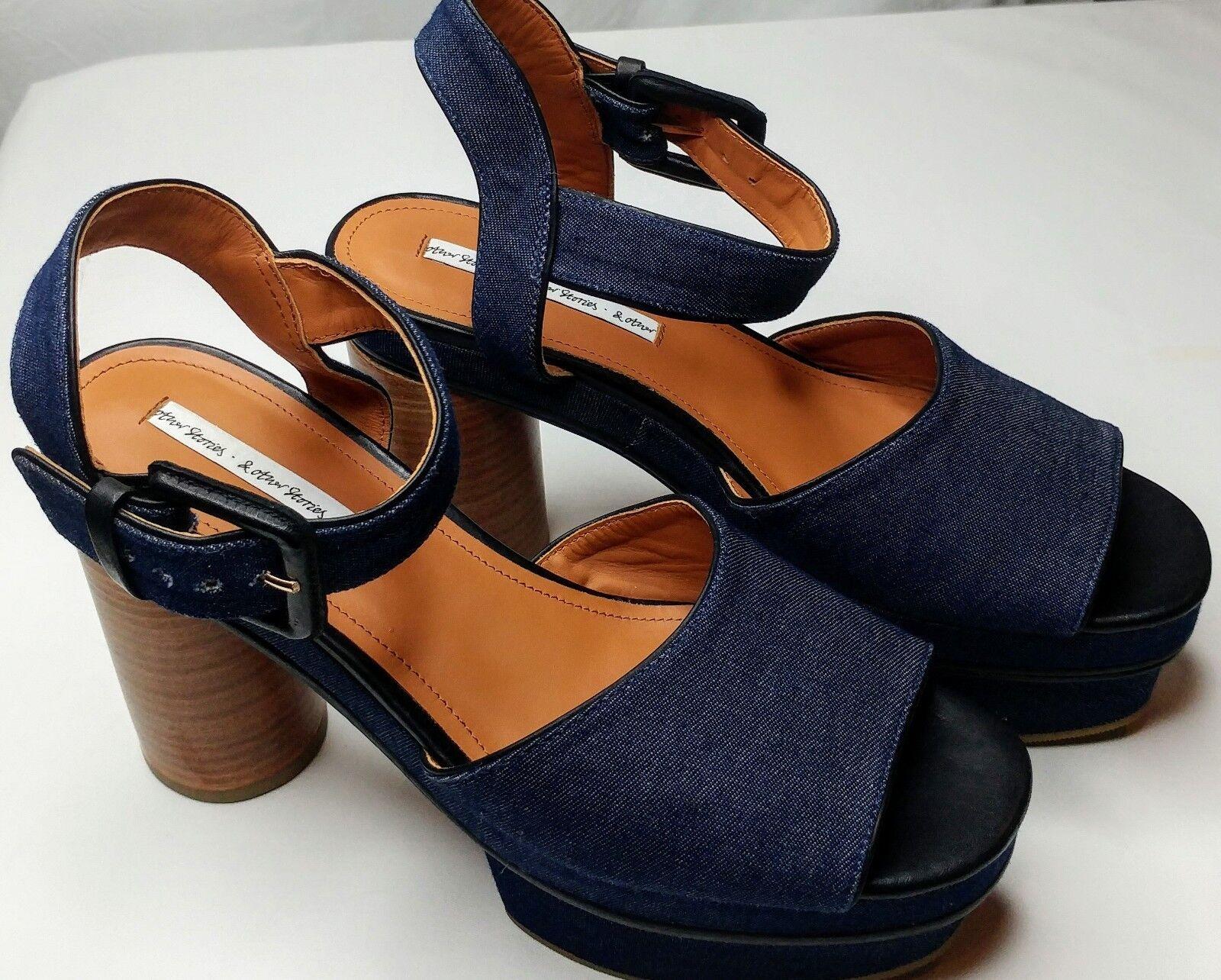 EUC & Other Stories Women's Platform Leather & Denim shoes Size 8 (Size 41)
