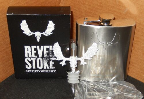 REVEL STOKE SPICED WHISKY FLASK AND BOTTLE NECK SPOUT