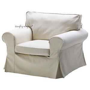 Ikea Cover For Ektorp Chair Armchair Svanby Beige Slipcover Linen Cotton Blend Ebay