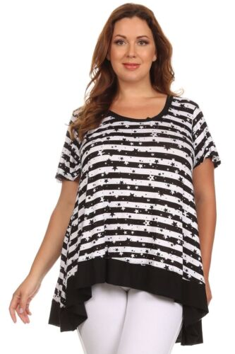 New Women/'s Plus Size Black White Star Short Sleeve High-Low Top Sizes 2X 3X