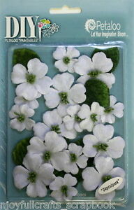 Dogwood-x-24-Canvas-WHITE-21-33mm-with-Centre-amp-6-Leaves-Textured-DIY-Petaloo-E