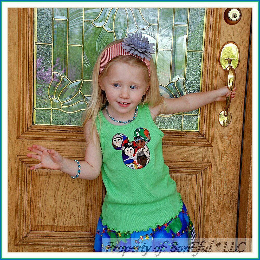 BonEful RTS NEW Boutique Girl 7//8 Top Shirt Disney Mickey Mouse Vacation Ruffle