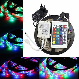 Bande-LED-RGB-5-10m-3528SMD-Strip-Ruban-kit-Adaptateur-Alimentatio-Telecommande