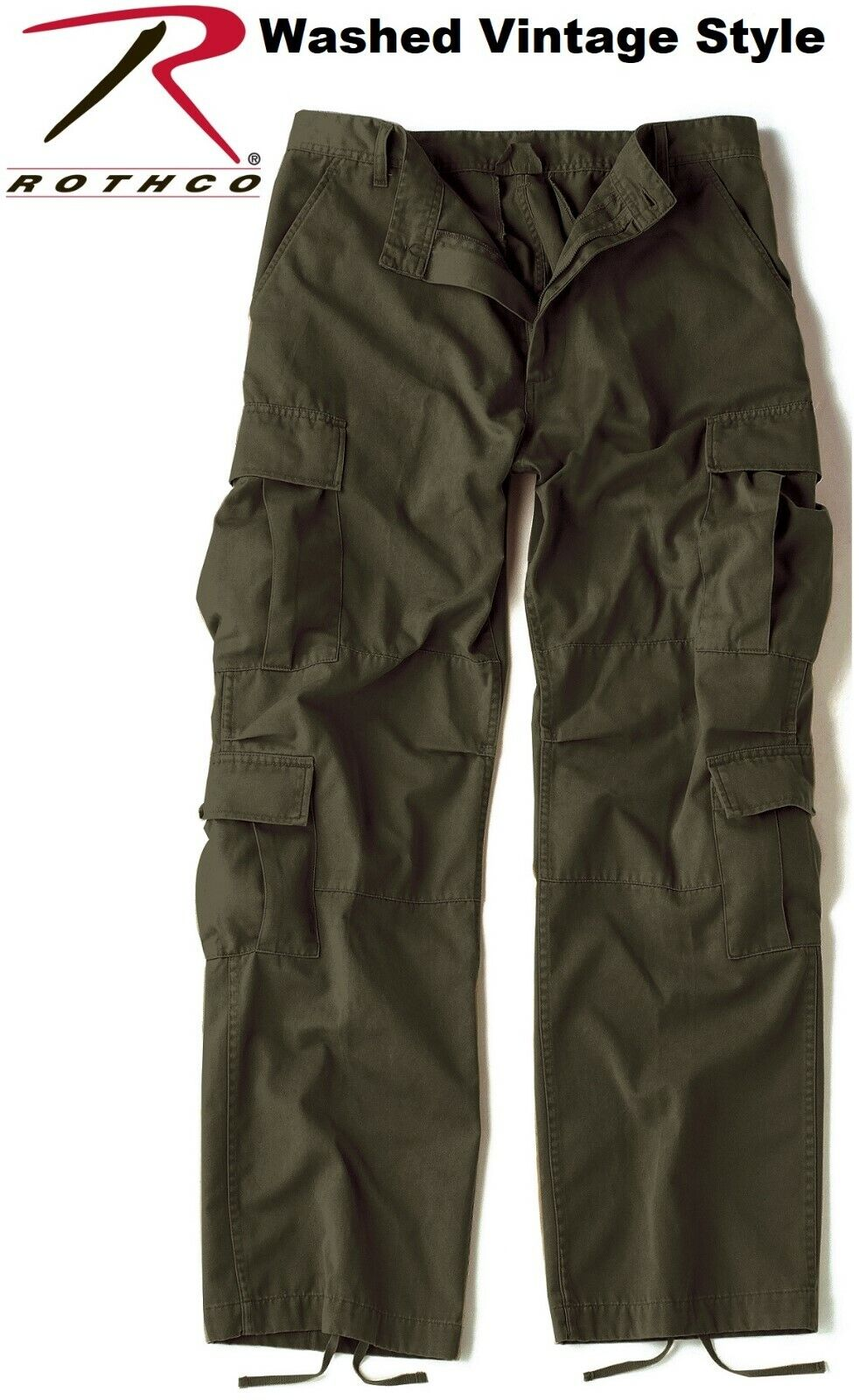 Vintage OD Green Army Paratrooper Pants Tactical Military BDU Fatigue 2786