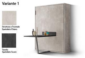 Mobile A Letto A Scomparsa.Dettagli Su Mobile Letto A Scomparsa Giotto 160 Apertura Verticale Con Tavolo