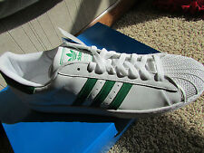 NEW ADIDAS ORIGINALS SUPERSTAR 2 SNEAKER SHOES MENS 19 WHITE/GREEN