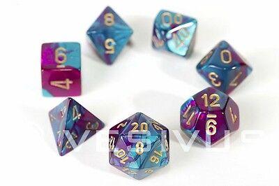 DICE Chessex Gemini PURPLE/TEAL 7-Dice Set Marble Shiny d20 d10 RPG d6 26449