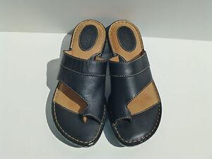 Born Womens Comfort Black Leather Slides Toe Ring Wedge