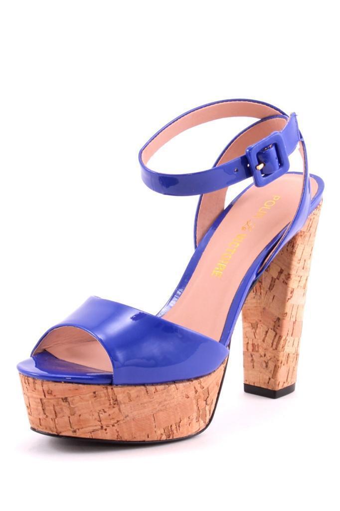 Pour La Victoire NASHA dark bleu patent leather cork sandals High Heels platform
