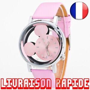 Montre-Mickey-Mouse-Minnie-Disney-Qualite-Femme-Luxe-Quartz-Cuir-Bijoux-Cadeau