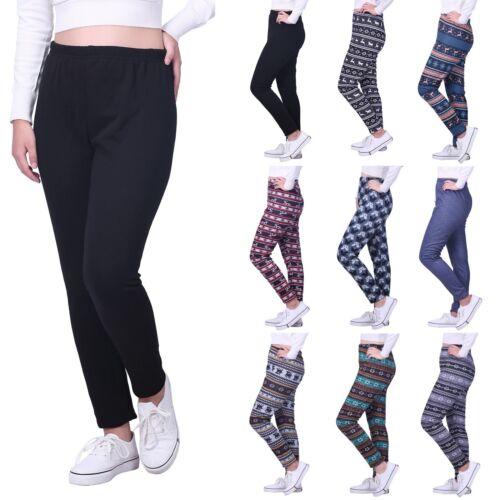 Women/'s Fleece Lined Winter Leggings Warm Thermal High Waist Patterned Pants