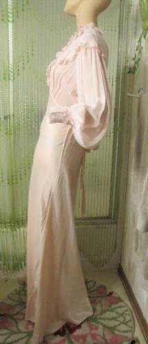 40s BY CHEVETTE PINK CHIFFON & RAYON DRESSING GOWN