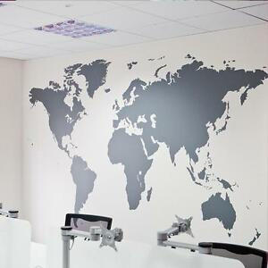 Large world map wall decal vinyl art sticker home decor black ebay image is loading large world map wall decal vinyl art sticker gumiabroncs Image collections