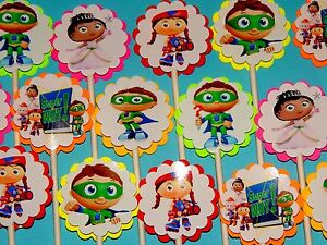 15-SUPER-WHY-Cupcake-Toppers-Birthday-Party-Favors-Baby-Shower-decoration-15