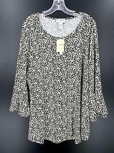 Carmen-Marc-Valvo-Womens-Leopard-Print-Bell-Sleeve-Tunic-Plus-Size-2X-NWT