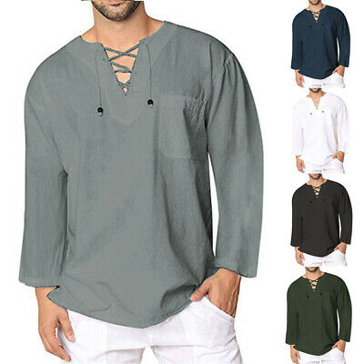 Mens Solid Slim Fit Clubwear Casual T-shirts V-neck Long SLeeve Casual Tops Tee