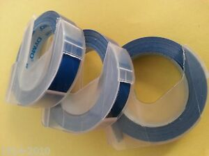 3 rolls x Dymo 3D embossing tape labels  9mm x 3m in BLUE *Crazy Sales