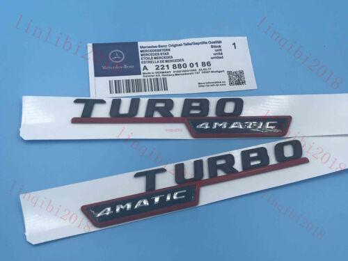 "matt black /""TURBO 4 MATIC/"" Letters Trunk Embl Badge Sticker for Mercedes Benz"