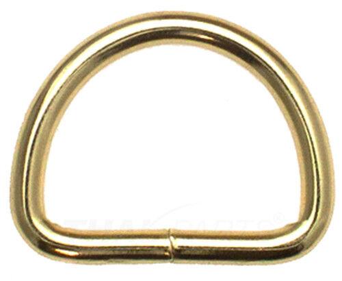 10St D-Ringe 25mm x18x3,4mm Stahl Gold vermessingt Halbrund Ring D Ringe D-Ring