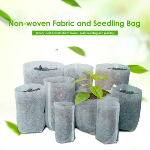 100pcs Biodegradable Non-woven Nursery Bag Plant Grow Bags Seedling Pots G #3YE