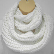 Superb Chunky Knit Winter White Circle Loop Infinity Scarf Snood - Great Size