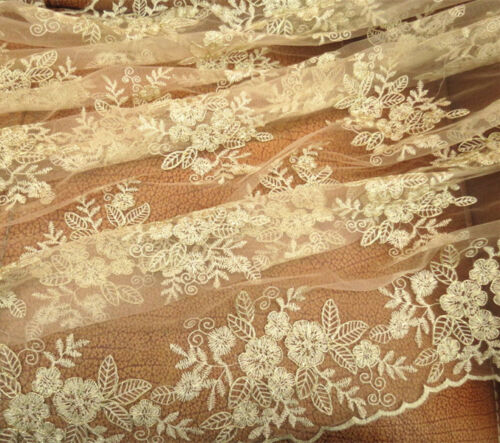 Gold Corded Bridal Gown Lace Fabric Floral Embroidery Wedding DIY Fabric 0.5 Y