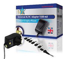 HQ Universal AC/DC Adapter 1500mA  3V, 4.5V, 5V, 6V, 9V and 12V output