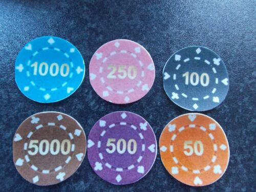 12 PRECUT Edible Casino Chip discs wafer//rice paper cake//cupcake toppers