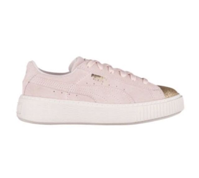 sports shoes c9b91 4904d PUMA Suede Platform Glam Jr Kids Sneaker Pink/gold/white Size 6