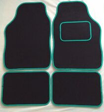CAR FLOOR MATS FOR MINI COOPER CLUBMAN ONE FIRST S - BLACK WITH GREEN TRIM