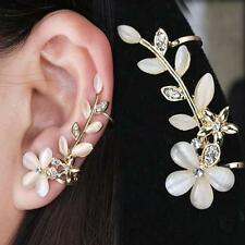 Cute Flower Rhinestone Ear Stud Cuff Clip Fashion Womens Gold Plated Earring  j8