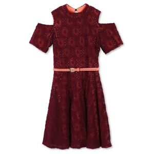 c54cfab87dbfe9 Girls  Lots of Love by Speechless Cold Shoulder Lace Belted Red ...