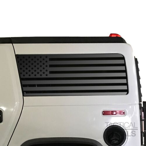 USA Flag Decals Fits Hummer H2 2002-2009 American Side Window  QR1-HH2