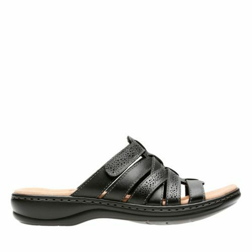 Neuf Clarks Femmes Leisa Field Cuir Noir Slide Sangle Confortable Sandale 34085