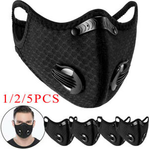 1/2/5PCS Reusable Dust Face Mask Earloop Masks With Valves Black Air Purifying