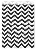 100 Flat Merchandise Paper Bags: 5 X 7, Black Chevron Stripes On White