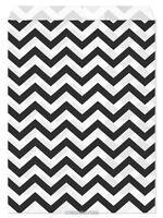 100 Flat Merchandise Paper Bags: 5 X 7, Black Chevron Stripes On White
