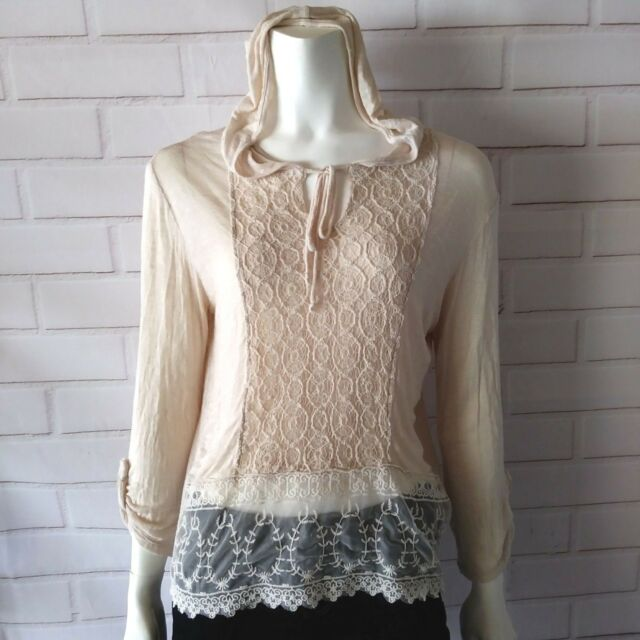 Women's Size Medium Top Cream Hooded Long Sleeve Lace Crochet Casual