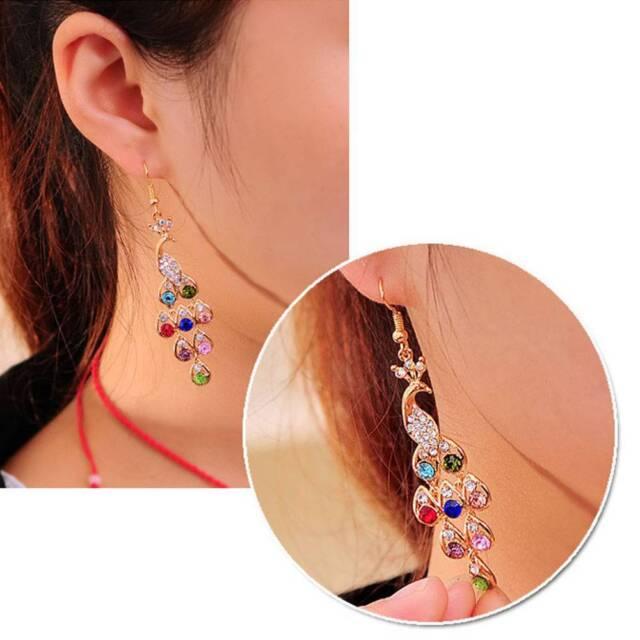 1 Pair Fashion Women Crystal Rhinestone Ear Drop Earrings Peacock Luxury Jewelry