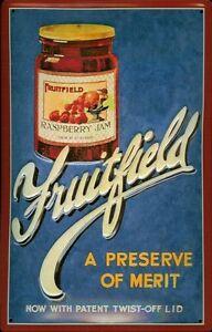 Fruitfield-Raspberry-Jam-Blechschild-Schild-Blech-Metall-Tin-Sign-20-x-30-cm