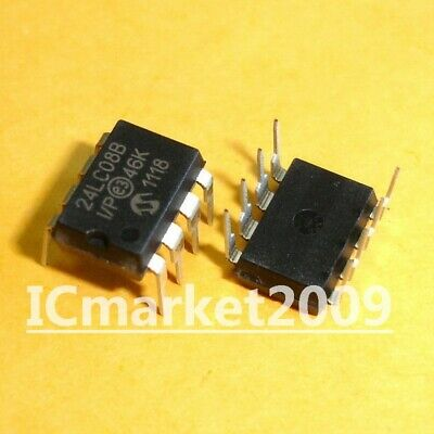 10 PCS 24LC08B-I//P DIP-8 24LC08B 24LC08 CMOS 8K I2C Serial EEPROM