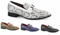 Mens Designer Smart OfficeSnakeskin Print Buckle Loafers Casual Shoes Size
