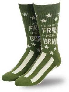 Land-of-the-Free-Home-Brave-Freedom-American-Flag-Patriotic-USA-Crew-Socks-3026