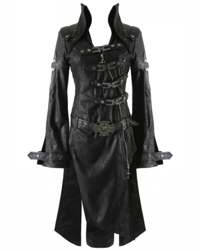 Similpelle Punk Donna Rave Giacca Ombra Steampunk Gotica Nero BcBr064q